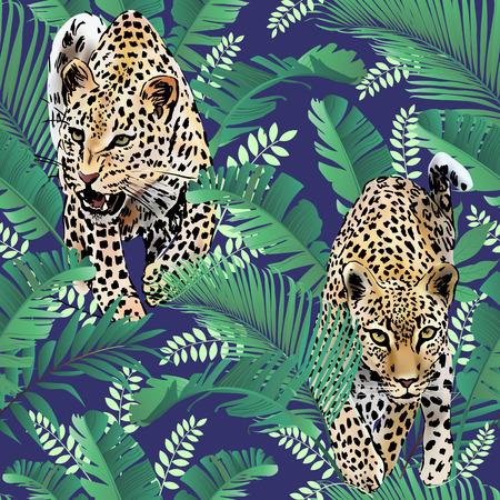 Ilustración de Cheetah and leopards palm leaves tropical watercolor in the jungle seamless background - Imagen libre de derechos