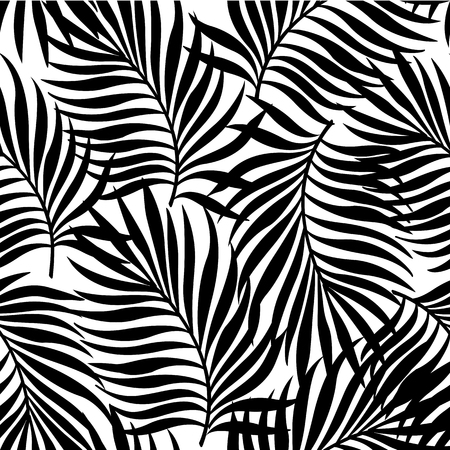 Photo pour Seamless repeating pattern with silhouettes of palm tree leaves in black on white background. - image libre de droit