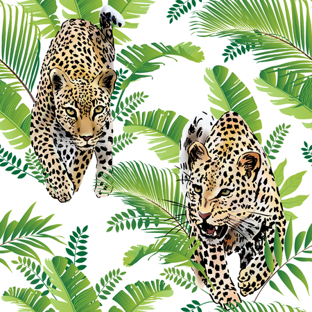 Ilustración de Leopards palm leaves tropical watercolor in the jungle. - Imagen libre de derechos