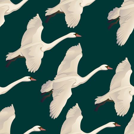 Ilustración de Vector illustration of Seamless pattern of drawing Flying Swans. - Imagen libre de derechos