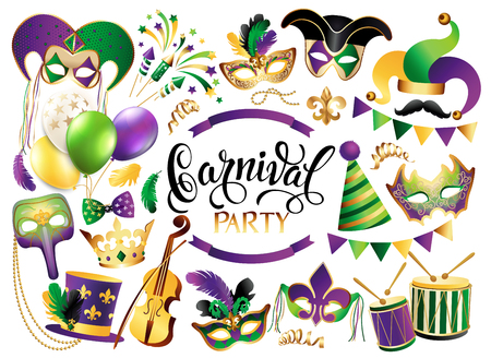 Illustration pour Mardi Gras French traditional symbols collection - carnival masks, party decorations. Vector illustration isolated on white background. - image libre de droit