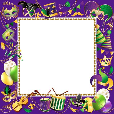 Ilustración de Frame template with golden carnival mask border design. - Imagen libre de derechos