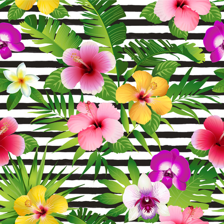 Ilustración de Tropical flowers and leaves on striped background. - Imagen libre de derechos
