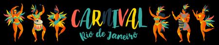 Illustration for Banner of Brazilian samba dancers Rio de Janeiro. Vector carnival girls and man dancing. - Royalty Free Image