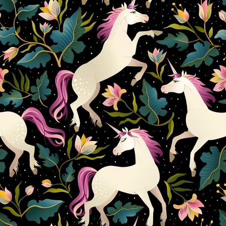 Ilustración de Seamless pattern with beautiful unicorns. Vector magic background for kids design. - Imagen libre de derechos