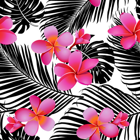 Illustration for Tropical coral flowers and leaves on black and white background. Seamless. Vector. - Royalty Free Image