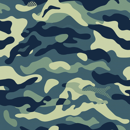 Ilustración de Camouflage pattern background seamless vector illustration. Classic clothing style masking repeat print. - Imagen libre de derechos