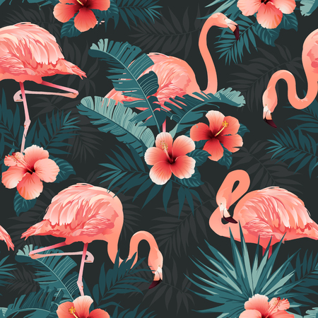Illustration pour Beautiful flamingo birds and tropical flowers background seamless pattern vector. - image libre de droit