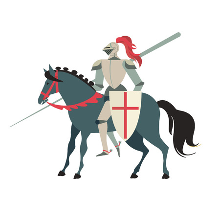 Illustration for Armoured medieval knight riding on a horse with spear and shield. Flat vector illustration isolated on white background - Royalty Free Image