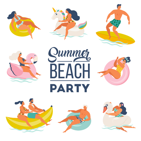 Ilustración de Pool Party doodle set. Happy people. Summer outdoor activities and festive decoration. Vector illustration isolated on white background. - Imagen libre de derechos