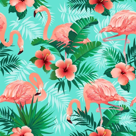 Ilustración de Pink flamingos, exotic birds, tropical palm leaves, trees, jungle leaves seamless vector floral pattern background. - Imagen libre de derechos