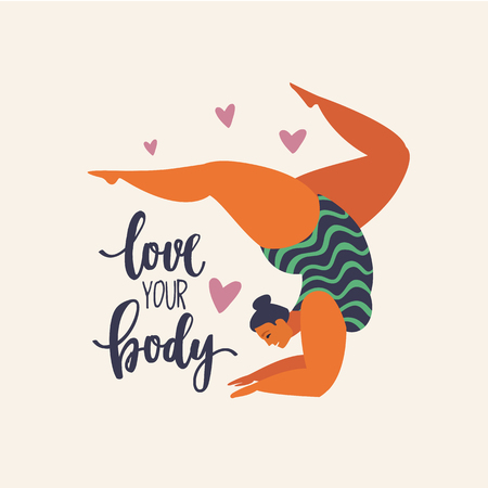 Illustrazione per Happy yoga plus size girl. Happy body positive concept. Different is beautiful. Attractive overweight woman. For Fat acceptance movement no fatphobia. Vector illustration on retro background. - Immagini Royalty Free
