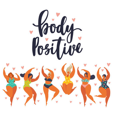 Illustrazione per Body positive. Happy girls are dancing. Attractive overweight woman. - Immagini Royalty Free