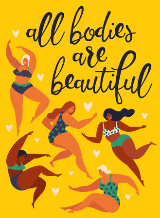 Illustrazione per All bodies are beautiful. Body positive. Happy girls are dancing. Attractive overweight woman. Vector illustration. - Immagini Royalty Free