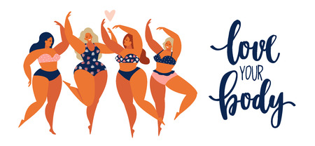 Illustrazione per Beauty girls body positive people concept group of happy women different in swimsuit. - Immagini Royalty Free