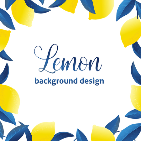Ilustración de Summer exotic and tropic background design. Composition with lemons and leaves. Vector universal card with place for text. - Imagen libre de derechos