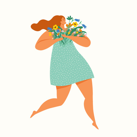 Illustration pour Happy girl running with a bouquet of flowers. International Women`s Day. Vector illustration. - image libre de droit