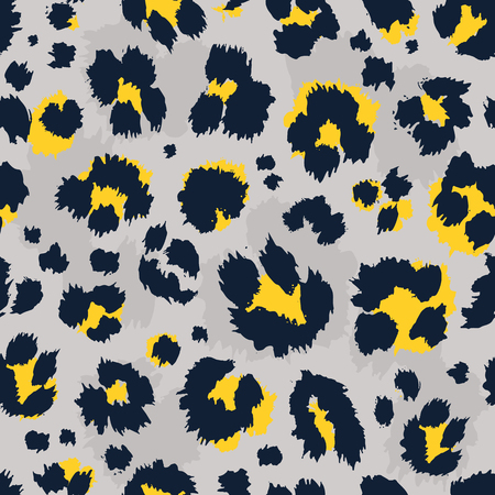 Illustration pour Leopard pattern design funny drawing seamless pattern. Lettering poster or t-shirt textile graphic design wallpaper wrapping paper. - image libre de droit