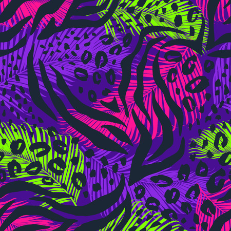 Illustration pour Abstract geometric seamless pattern with animal print. Trendy hand drawn textures. - image libre de droit