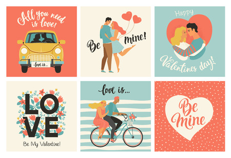 Illustration pour Collection of designs with cute loving couples. Valentines day card and other flyer templates with lettering. Typography poster, card, label, banner design set - image libre de droit