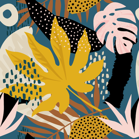Illustrazione per Trendy seamless exotic pattern with tropical plants and animal prints. Vector illustration. Modern abstract design for paper, wallpaper, cover, fabric, Interior decor. - Immagini Royalty Free