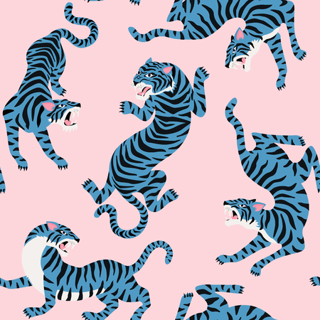 Illustrazione per Vector seamless pattern with cute tigers on background. Circus animal show Fashionable fabric design. - Immagini Royalty Free