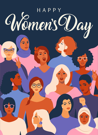 Illustration pour Female diverse faces of different ethnicity poster. Women empowerment movement pattern International womens day graphic in vector. - image libre de droit