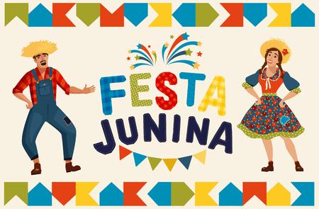 Illustration pour Festa Junina illustration - traditional Brazil June festival party. Vector illustration. - image libre de droit