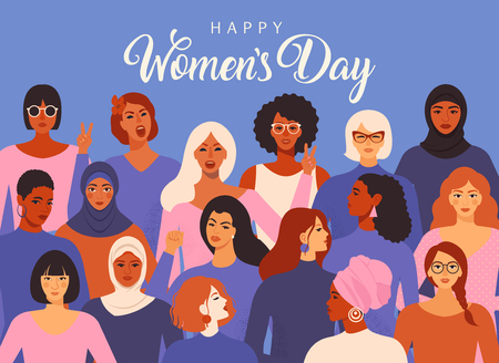 Illustration pour Female diverse faces of different ethnicity poster. Women empowerment movement pattern. International women s day graphic in vector. - image libre de droit