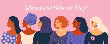 Illustration pour International Womens Day. Vector illustration with women different nationalities and cultures. - image libre de droit