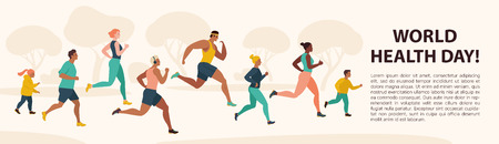 Illustration pour People Jogging Sport Family Fitness Run Training World Health Day 7 April Flat Vector Illustration. - image libre de droit