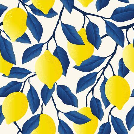 Ilustración de Tropical seamless pattern with bright yellow lemons. - Imagen libre de derechos