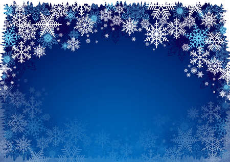 Illustration pour Illustration of Christmas background with blue and white snowflakes in various styles - image libre de droit