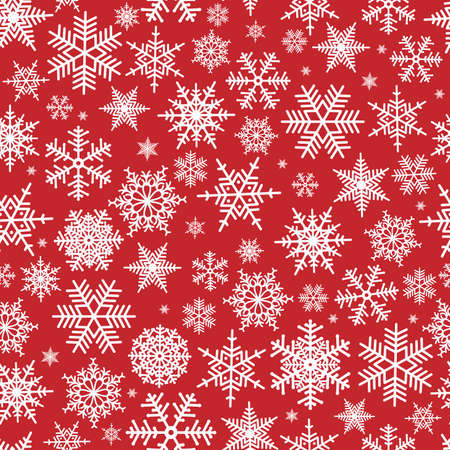 Illustration pour Illustration of Christmas pattern with white snowflakes on red background - image libre de droit
