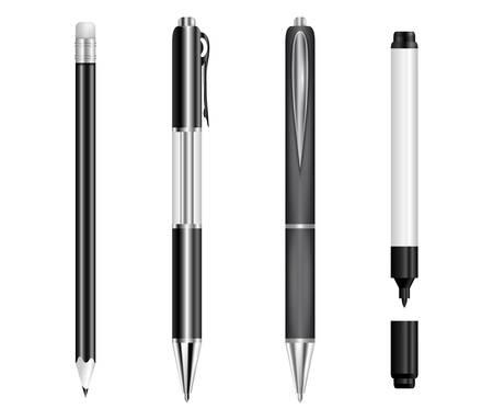 Illustration pour Illustration of black pens, pencil and marker isolated - image libre de droit