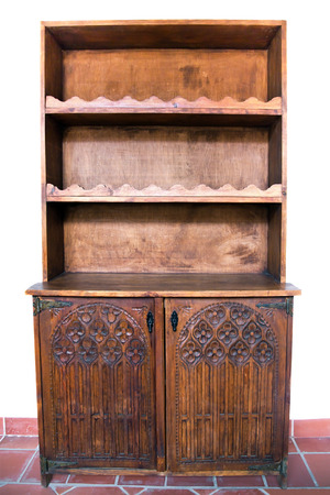 antique furniture wooden doors carved with empty shelves