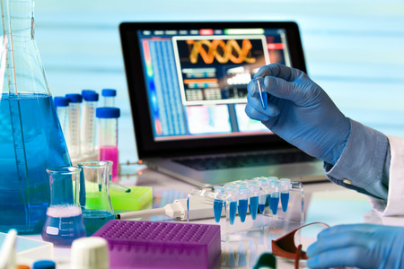 Photo for scientist holding tube and working with laptop in genetics lab / engineer genetic working in laboratory - Royalty Free Image