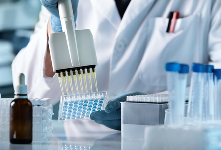 Foto de hands of scientist working with multichannel pipette and multi well plates / research technician with multipipette in genetic laboratory - Imagen libre de derechos
