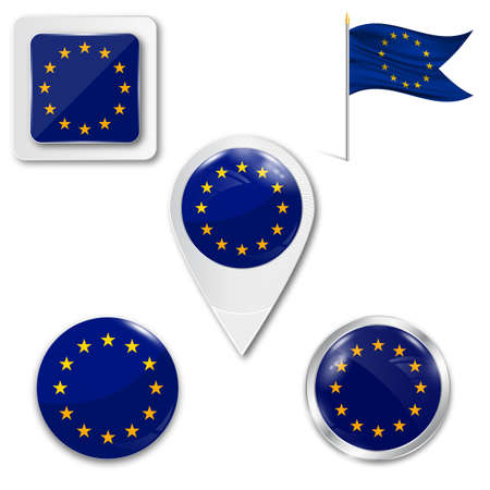 Illustration pour Set of icons of the European Union flag in different designs on white background. - image libre de droit