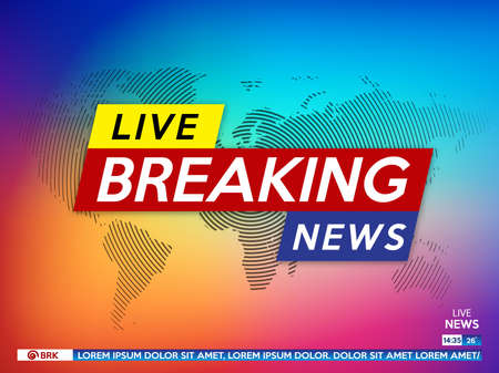 Illustration for Background screen saver on breaking news. Breaking news live on color gradient background and world map. Vector illustration. - Royalty Free Image