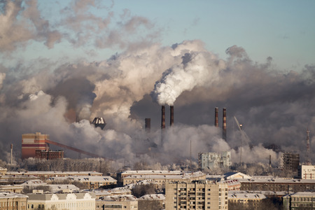 Photo for Poor environment in the city. Environmental disaster. Harmful emissions into the environment. Smoke and smog. Pollution of the atmosphere by plants. Exhaust gases. - Royalty Free Image