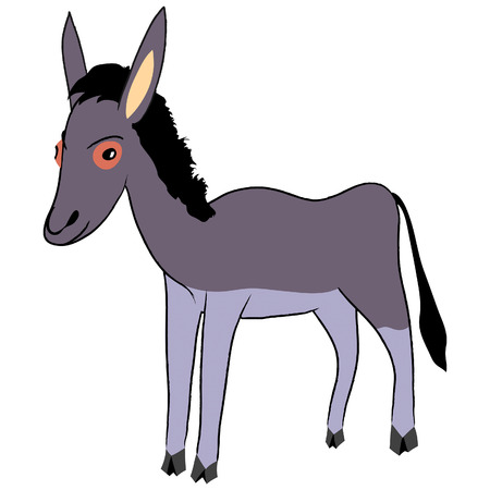 Vector cartoon illustration of funny grey donkey
