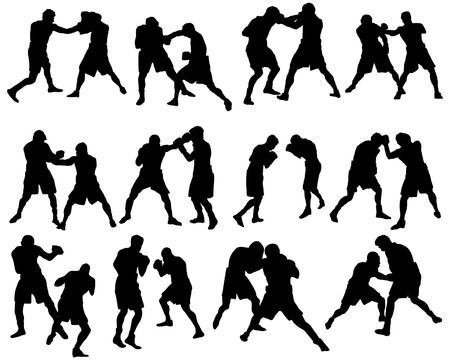 Set of different boxing silhouettes.   illustration.