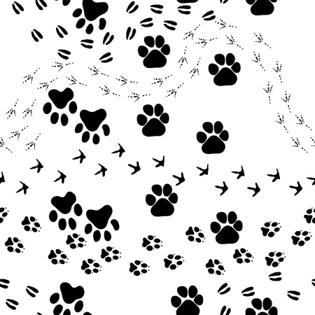 Animal footprint seamless pattern.  For easy making seamless pattern just drag all group into swatches bar, and use it for filling any contours.