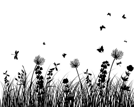 Illustration pour Vector grass silhouettes background. All objects are separated. - image libre de droit
