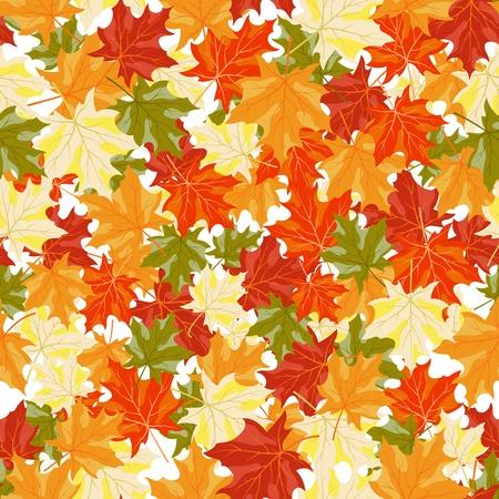 Autumn maples leaves seamless background. illustration.