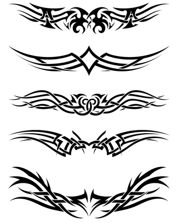 Illustration for Set tribal tattoos. EPS 10 vector illustration without transparency. - Royalty Free Image