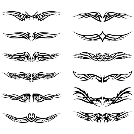 Illustration for Set of tribal tattoos. EPS 10 vector illustration without transparency. - Royalty Free Image
