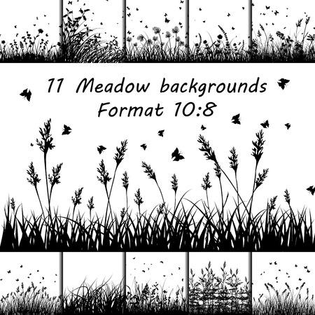 Illustration pour Set of Eleven Meadow backgrounds design with butterflies. - image libre de droit
