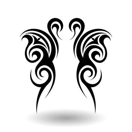 Illustration for Hand Drawn Tribal Tattoo in Wings Shape - Royalty Free Image